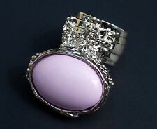 PINK KNUCKLE ART RING SILVER WOMAN ARTY PASTEL CHUNKY ARMOR STATEMENT JEWELRY