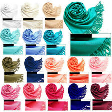 Women's Colors Cashmere Silk Solid Long Pashmina Shawl Wrap Scarf Stole NEW