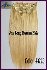 7pcs Remy Hair Clip In 100%Real Human Hair Extensions Bleach Blonde 16''18''20''