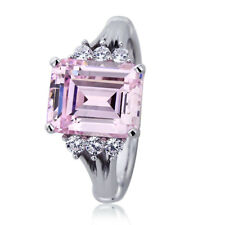 10.5mm Platinum Plated Silver 3.7ct Emerald Cut Pink CZ Wedding Engagement Ring