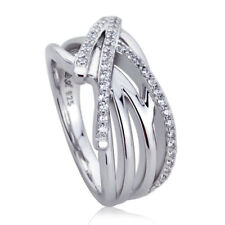 10mm Platinum Plated Silver 0.35ct Round CZ Pave Set Wedding Engagement Ring