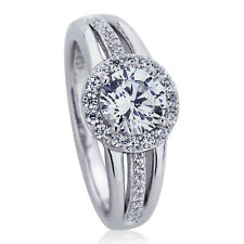 9.5mm Platinum Plated Silver 1ct CZ Halo Three Row Wedding Engagement Ring set