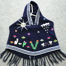 Brand New Made In Peru ~ Arpillera Poncho with Hood Size T2 Navy Blue #91205