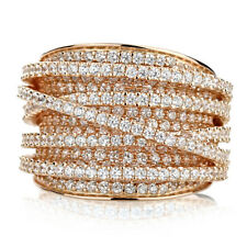 15mm 14K Rose Gold Plated Silver Intertwined CZ Pave Set Right Hand Ring