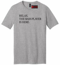 Relax The Bass Player Is Here Funny Mens V-Neck T Shirt Band Musician Gift Tee