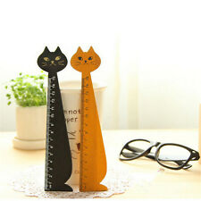 WK Useful Korea Kawaii Cute Cat Kitty Face Stationery Wood Ruler Sewing Ruler sv