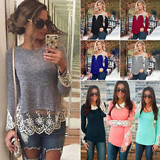 Boho Womens Lace Crochet Long Sleeve T-shirt Tops Casual Tee Shirt Tunic Blouse