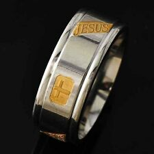 JESUS & Cross Mens Yellow Gold  Filled Stainless Steel Punk Ring Size 8 9 10 11