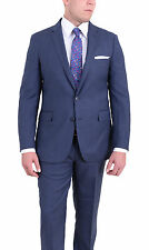 Mens Modern Fit Blue Windowpane Two Button Super 140's Wool Suit