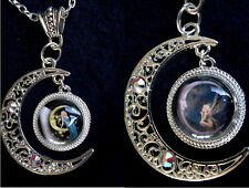 Moon Fairy Pendant Necklace, Fantasy Dangle,. Crystals, Glass Cabochon