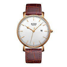 Luxury Mens Leather Strap Thin Watch Analog Quartz Date Dress Wristwatch H9R6