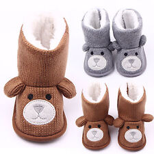 Infant Baby Girl Boy Winter Warm Fur Knitted Booties Crib Shoes Bear Snow Boots