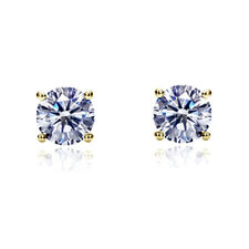 14K Yellow Gold Round Cut Cubic Zirconia Basket Setting Solitaire Stud Earrings