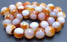 "SALE Big 12mm Orange multicolor Faceted Round agate beads strands 15"" -los442"