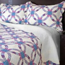 NEW Twin Full Queen King 3 pc Blue Polka Dot Reversible Quilt Coverlet Bed Set