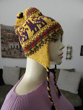 From Peru New Thick Alpaca Chullo Earflap Hat Llama Design #121305
