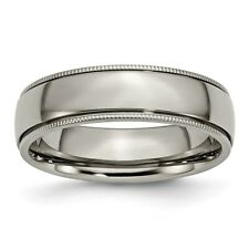 Chisel 6mm Polished Titanium Grooved And Beaded Edge Band Size 6 to 13