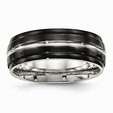 Chisel 8mm Polished Black Stainless Steel Ridged Edged Band Size 7 to 13