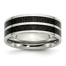 Chisel 8mm Stainless Steel Double Black Carbon Fiber Inlay Band Size 7 to 13