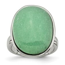 Chisel Stainless Steel Oval Green Aventurine Ring Size 6 to 8