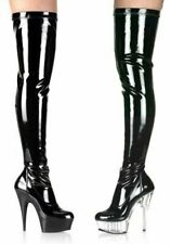 5 3/4 Spike Heel Platform Stretch Thigh Boot Women'S Size Shoe With Side Zipper