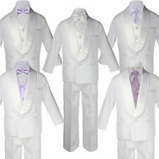 Baby White Satin Shawl Lapel Suits Tuxedo LILAC Satin Bow Necktie Vest Set