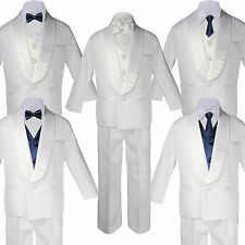 Baby White Satin Shawl Lapel Suits Tuxedo NAVY BLUE Satin Bow Necktie Vest Set