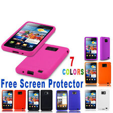 2xSILICONE GELCASE COVER FITS SAMSUNG GALAXY S2 i9100 FREE SCREEN PROTECTOR