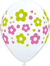 """11"""" Daisies Dots & Hearts - Lime and Rose Latex Balloons (Spring, Easter)"""