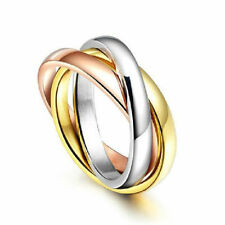 Couple New Silver&Rose Gold Stainless Steel Triple Tone Tri-Roll Links Band Ring