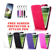 2X Leather Flip Case Cover Fits SAMSUNG GALAXY S4 IV i9500 & Screen Protector