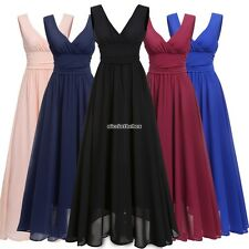 Women V Neck Drape Ruched Waist Evening Party Dress Long Maxi Dress N98B