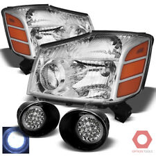 Fits 04-15 Titan, 04-07 Armada Replacement Headlights HeadLamps+LED Fog Lights