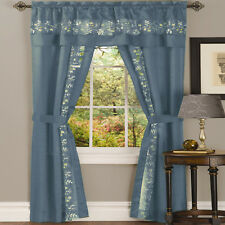 NEW 5 pc Window Curtains Panels Drapes Pair Valance Set 84 63 inch Sheer Blue