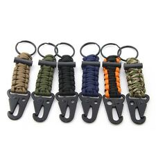 Survival Paracord 550 Cord Keyfob Keychain Fire Starter Carabiner Snap Hook Clip