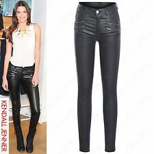 NEW LADIES ZIP POCKET PU STRETCH FIT JEANS LEATHER LOOK SKINNY TROUSERS PVC PANT