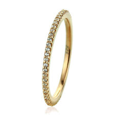 Fine 1.5mm 14K Yellow Gold Plated Silver CZ Pave Setting Eternity Band Ring