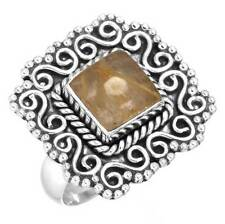 925 Sterling Silver Handcrafted Ring Golden Rutilated quartz Size 7 cg93578