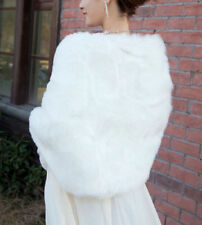New Black Ivory White Faux Fur Wedding Bridal Shawl Wrap Stole Shrug Jacket Cape