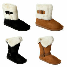 WOMENS CUFF FULLY FUR LINED FLAT CASUAL WINTER ANKLE BOOTS LADIES UK SIZE 3-8