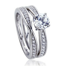 Women 6mm Platinum Plated Sterling Silver 1ct CZ Engagement Bridal Ring Set