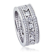 Women 8mm Platinum Plated Silver 1ct CZ Engagement Band Eternity Ring set