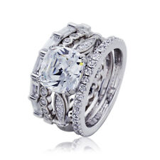 Women 9mm Platinum Plated Silver 2.7ct CZ Eternity Engagement Bridal Ring Set