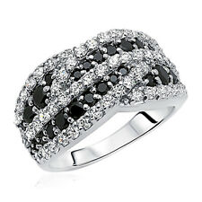 Women 11mm Rhodium Plated Sterling Silver Ring Black White CZ Engagement Band