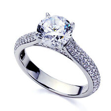 Women 3.5mm Platinum Plated Silver 2ct CZ Exquisite Engagement Ring set