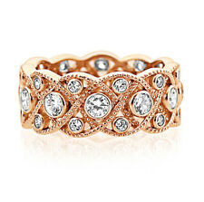 Women 8mm Rose Gold Plated Silver 1.75ct CZ Band Vintage Eternity Ring set