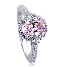 Women 10mm Platinum Plated Silver 1.2ct Oval Pink CZ Halo Engagement Ring set