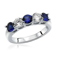 Women 3.5mm Rhodium Plated Silver Ring CZ Five Stone Blue Anniversary Band set