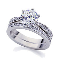 Women 5mm Platinum Plated Silver 2ct CZ Vintage Engagement Ring Bridal Set