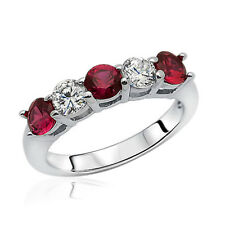 Women 3.5mm Rhodium Plated Silver Ring Red CZ Five Stone Band Anniversay set